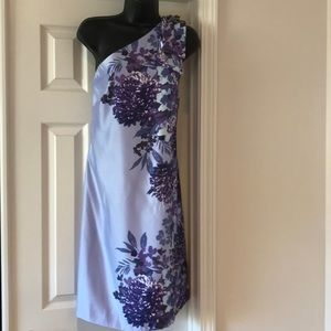 Purple Floral One Shoulder Dress